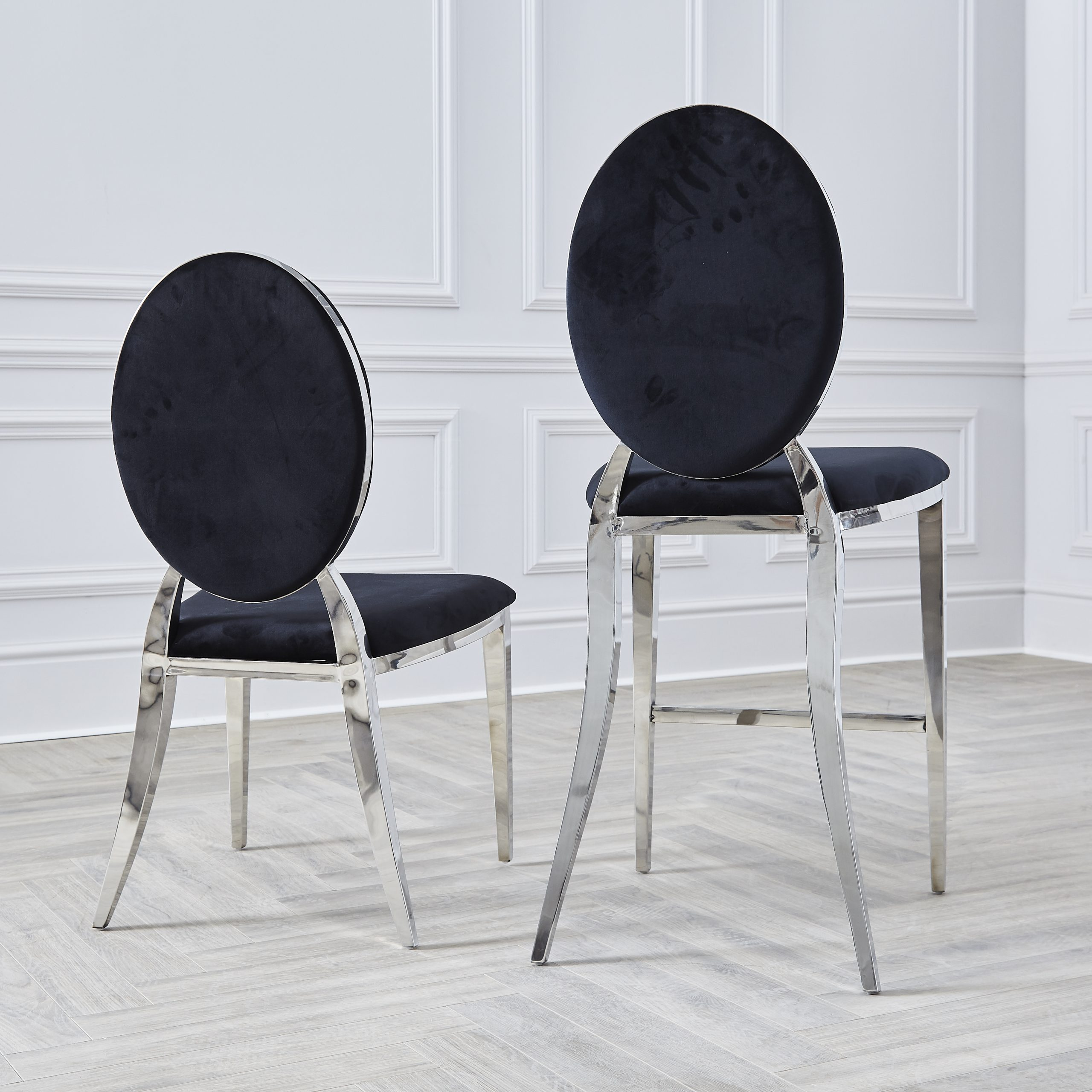 Chrome Round Back Black Velvet Dining Chair Niches