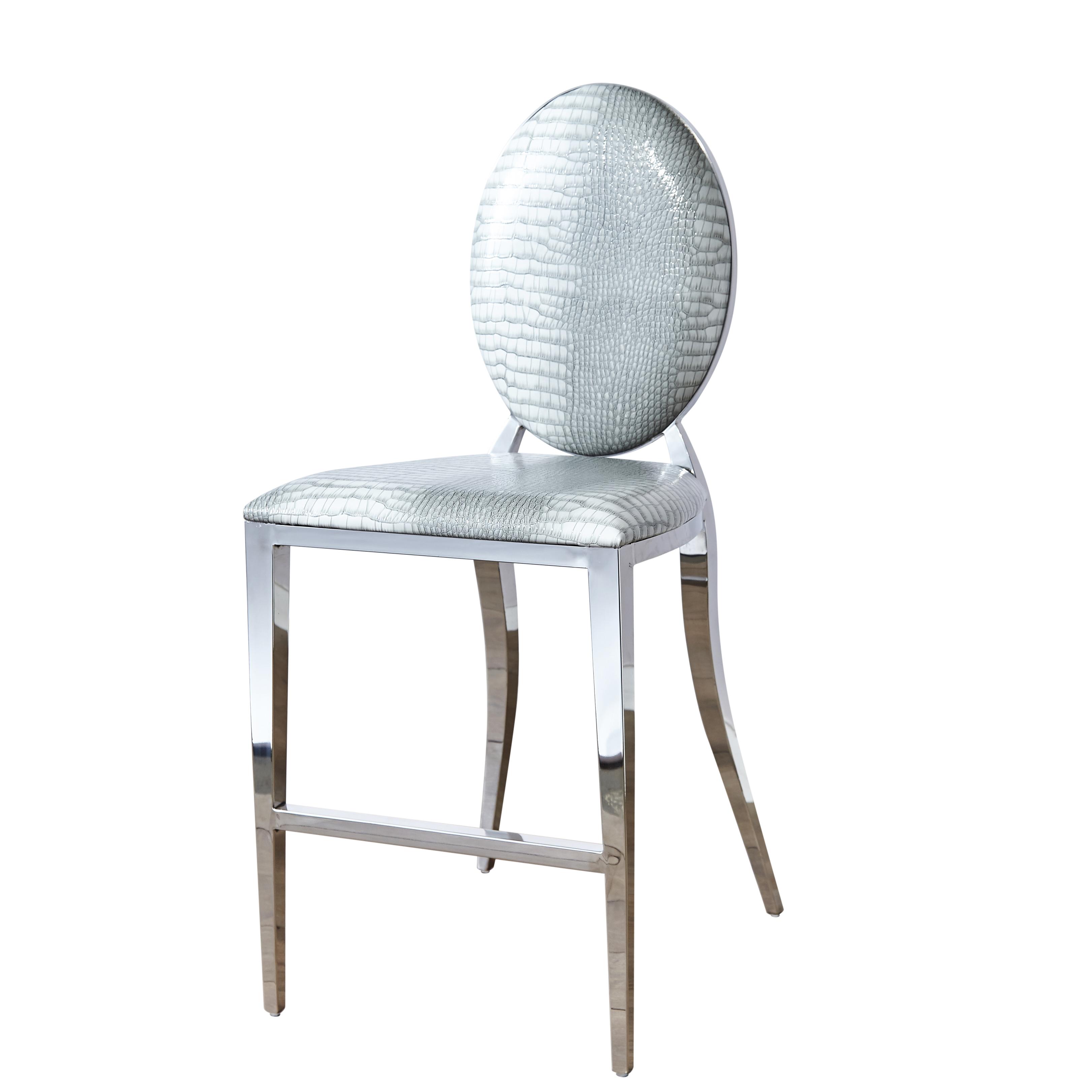 Awe Inspiring Chrome Round Back 65Cm Grey Mock Croc Breakfast Bar Stool Dailytribune Chair Design For Home Dailytribuneorg