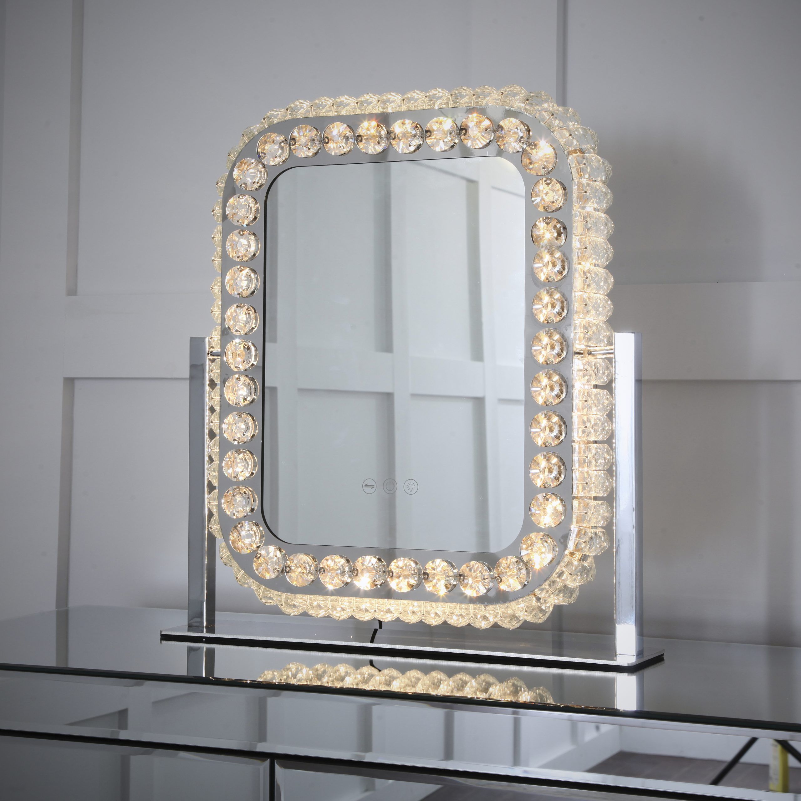 Niches Square Decorative Crystal Dimmable 3 Settings Vanity Mirror Niches