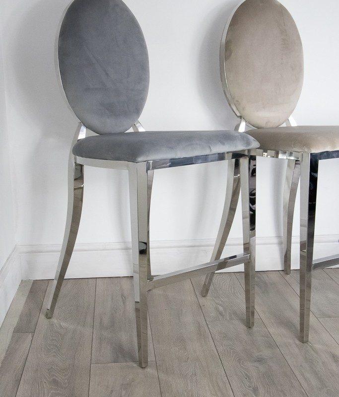 Terrific Chrome Round Back 65Cm Grey Velvet Breakfast Bar Stool Dailytribune Chair Design For Home Dailytribuneorg