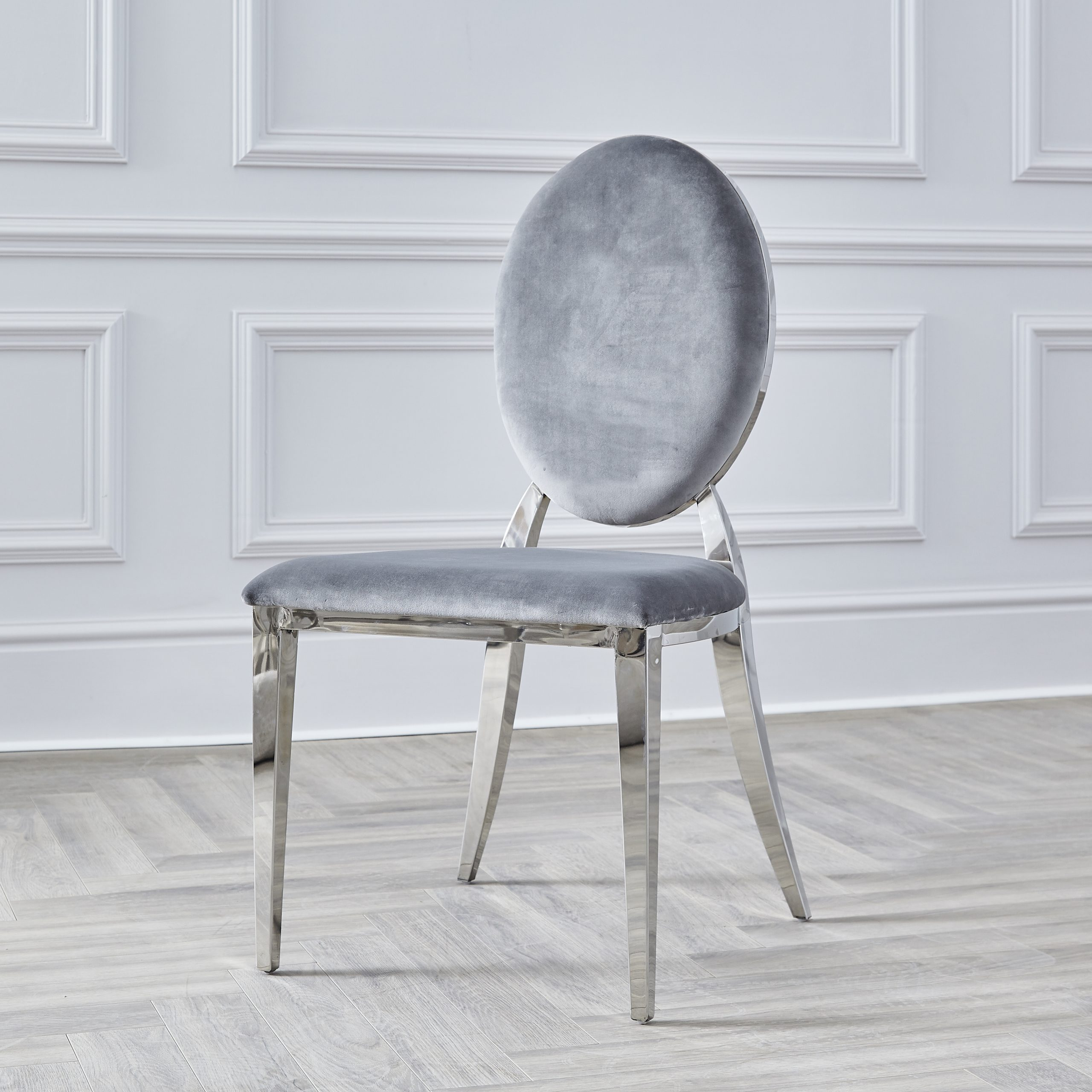 Chrome Round Back Grey Velvet Dining Chair Niches