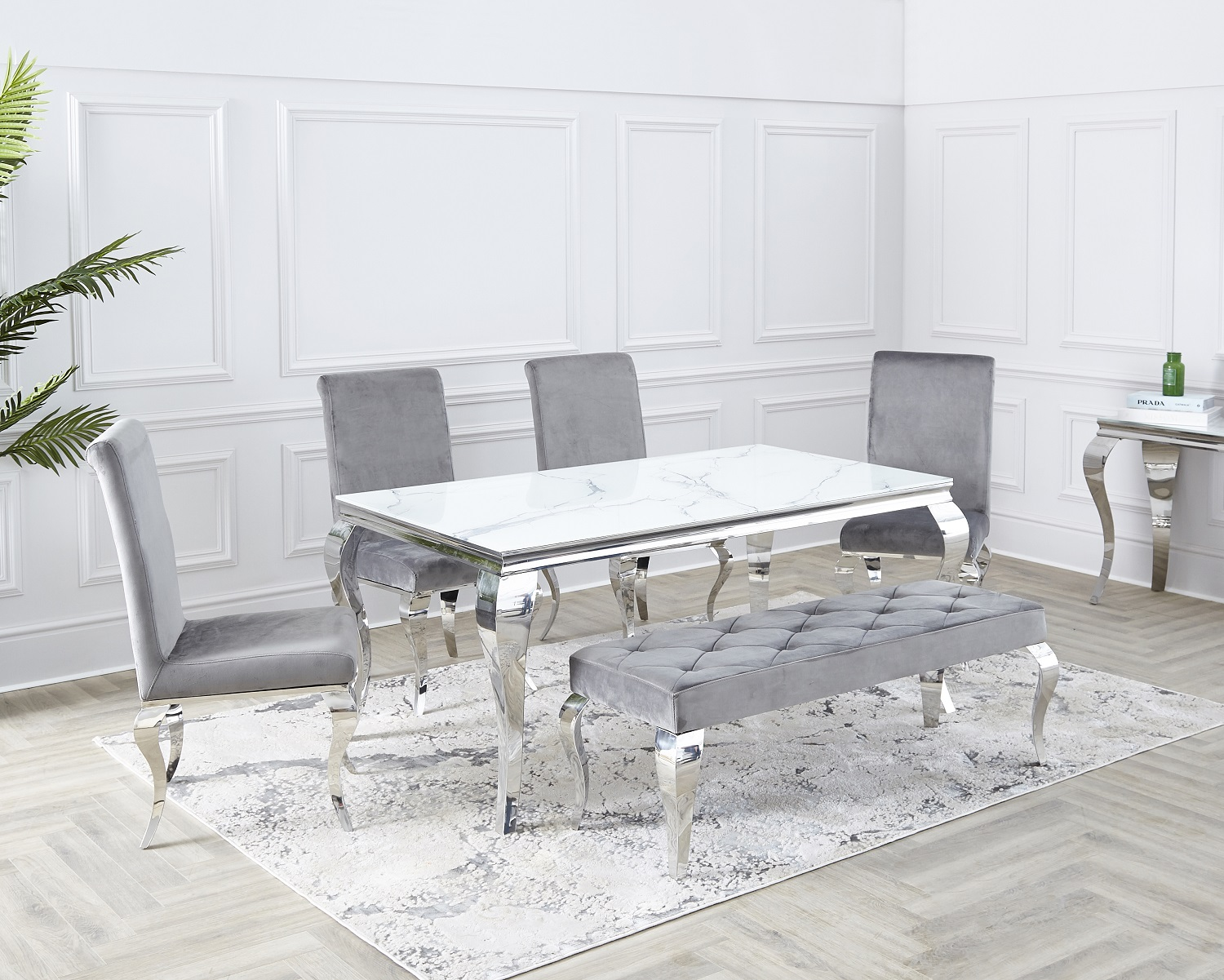 Louis 1 6m Dining Room Table Chairs, Grey And White Dining Room Table With Bench